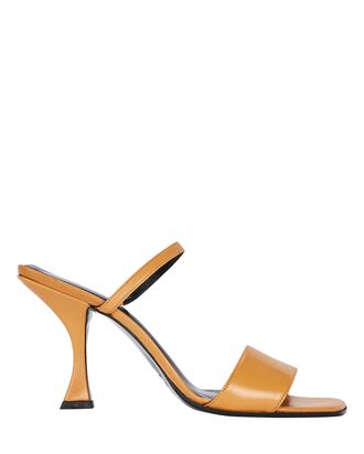 Nayla Leather Slide Sandals, ORANGE, hi-res