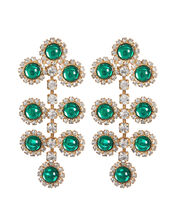 Etta Filigree Drop Earrings, GREEN, hi-res