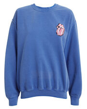 Rolling Stones Tongue Sequin Sweatshirt, FADED BLUE, hi-res