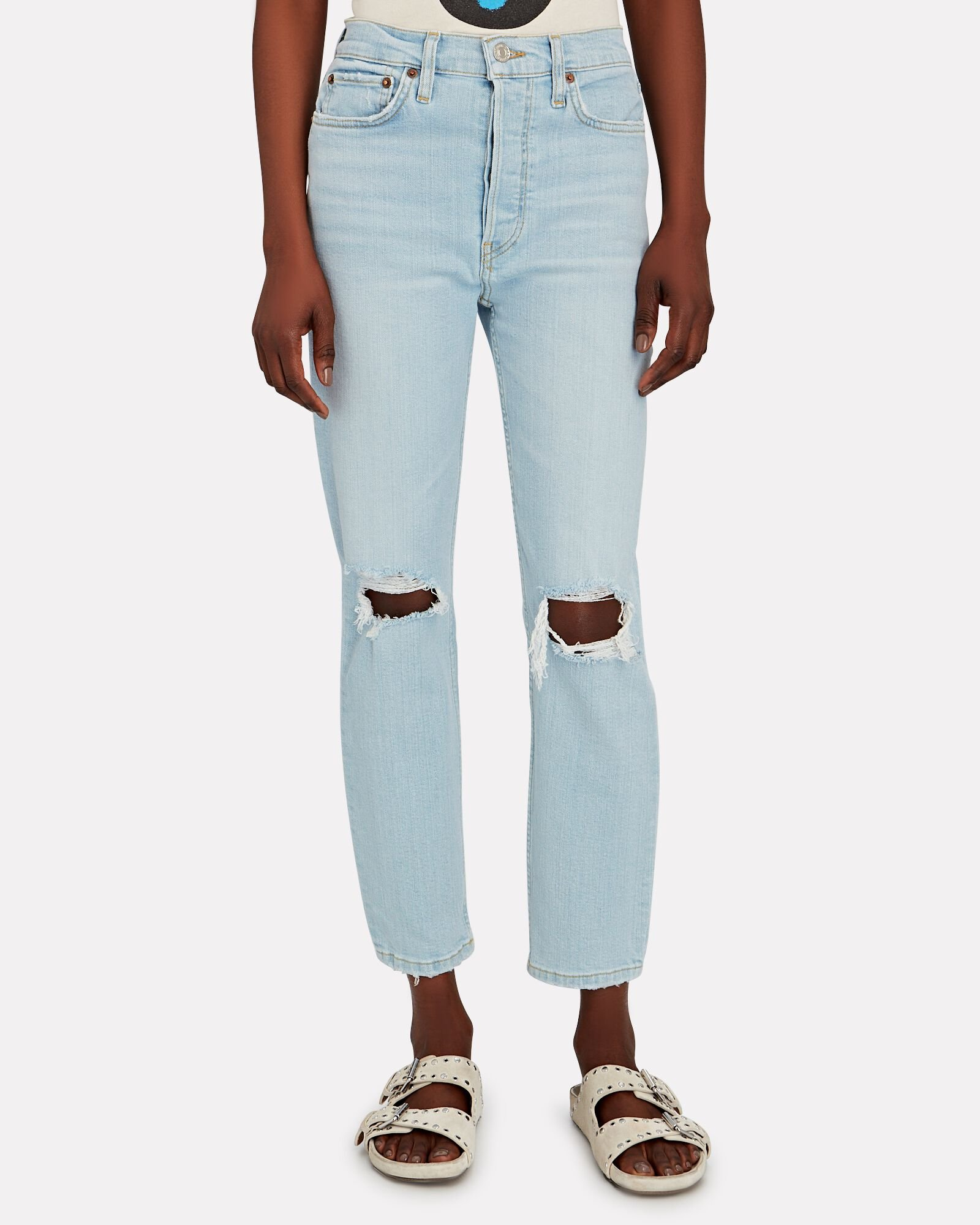 90s High-Rise Ankle Crop Jeans, DESTROYED ICY BLUE, hi-res