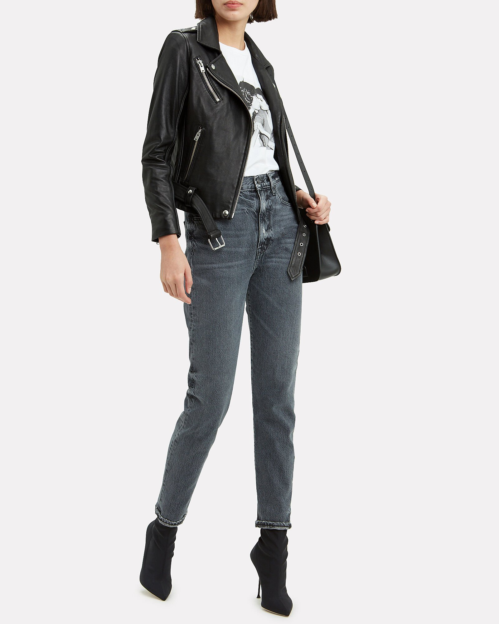 Cara Leather Jacket, BLACK, hi-res