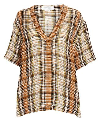 Oversized Checked Linen Top, ORANGE, hi-res