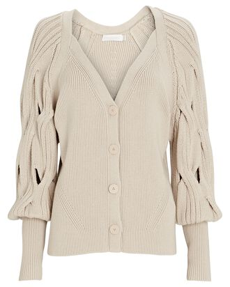 Kinley Open Cable Knit Cardigan, BEIGE, hi-res