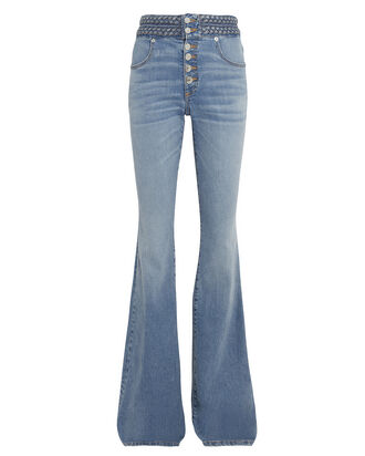 Beverly Braided Flare Jeans, LIGHT DENIM, hi-res