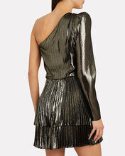 Yolie One-Shoulder Lamé Dress, GOLD, hi-res