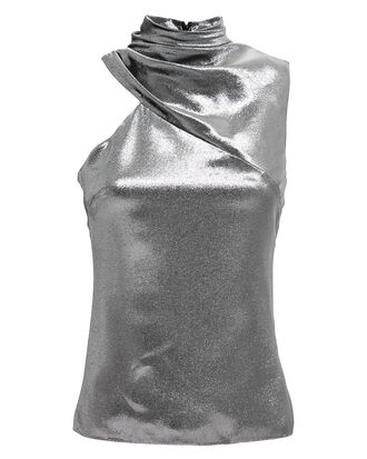 Lamé Mock Neck One Shoulder Top, SILVER, hi-res