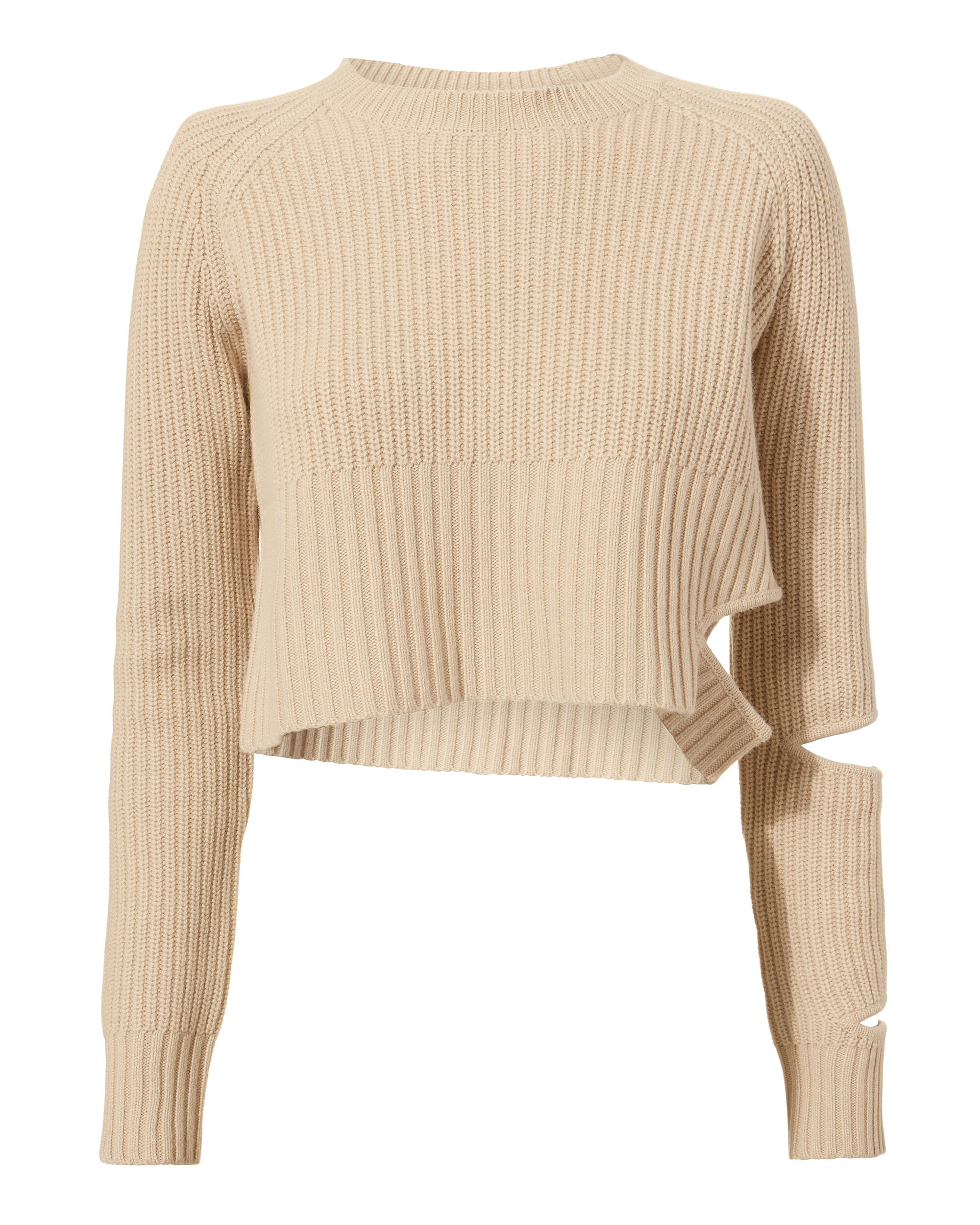 Akar Cropped Sweater, BEIGE, hi-res