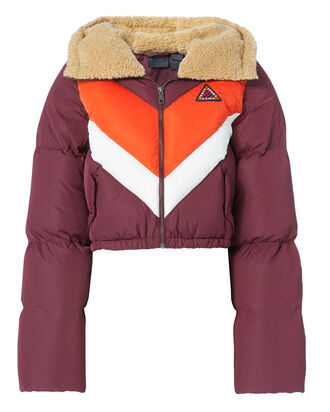 Quilted Chevron Burgundy Puffer Jacket, RED, hi-res