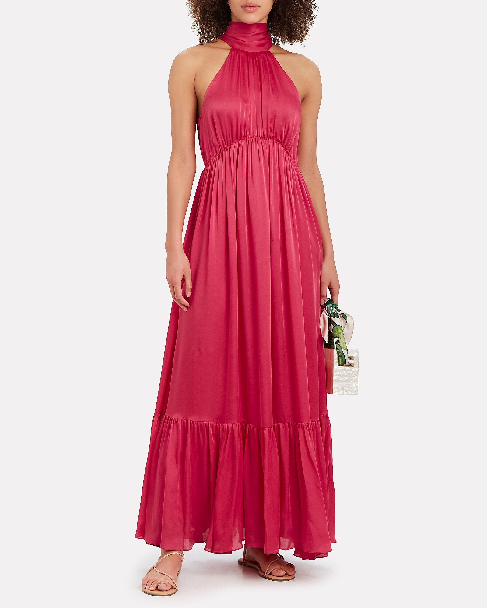 Gathered Sleeveless Silk Chiffon Gown, PINK-DRK, hi-res
