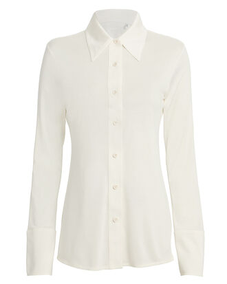 Silk Jersey Button Down Top, IVORY, hi-res