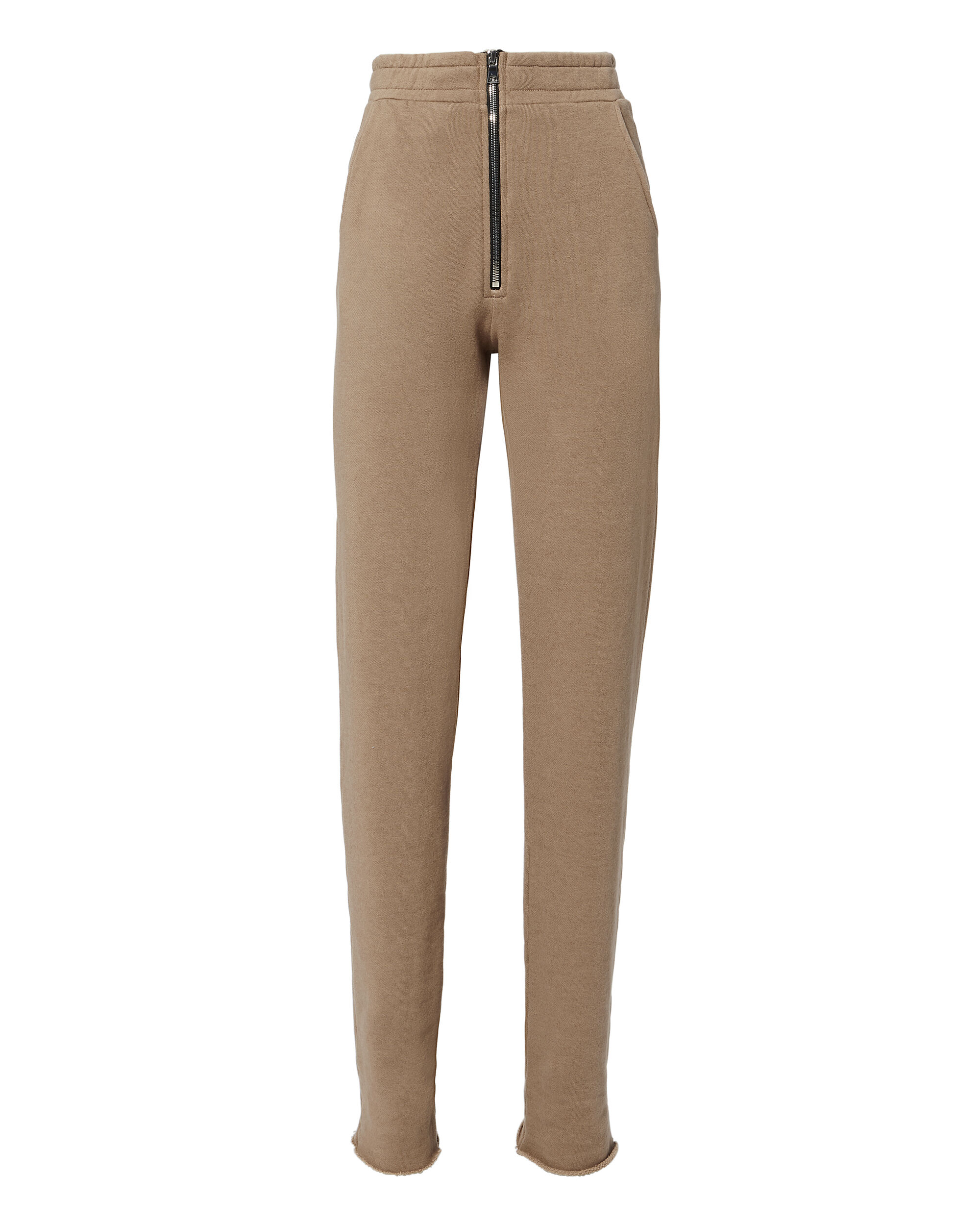 Dark Tan Zip Trousers, BEIGE, hi-res