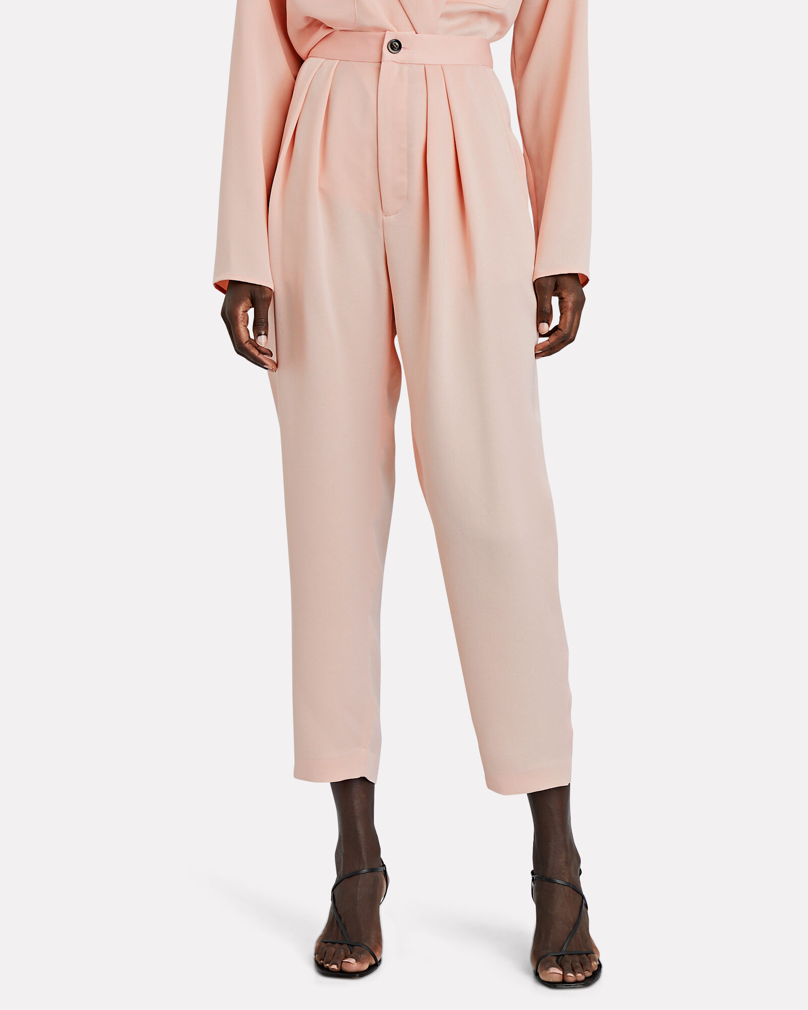 Riley Pleated Crepe Trousers, BLUSH, hi-res
