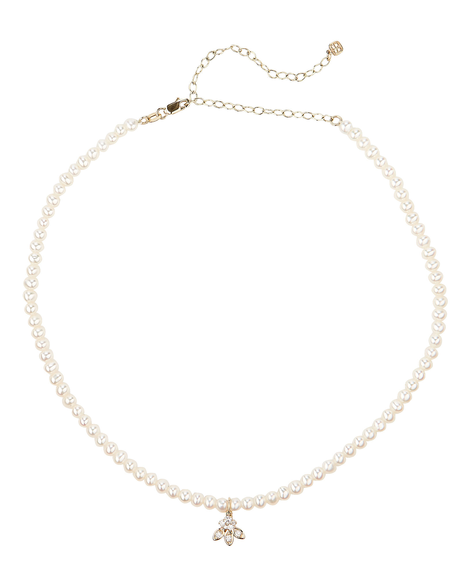 Pearl Diamond Charm Choker, WHITE, hi-res
