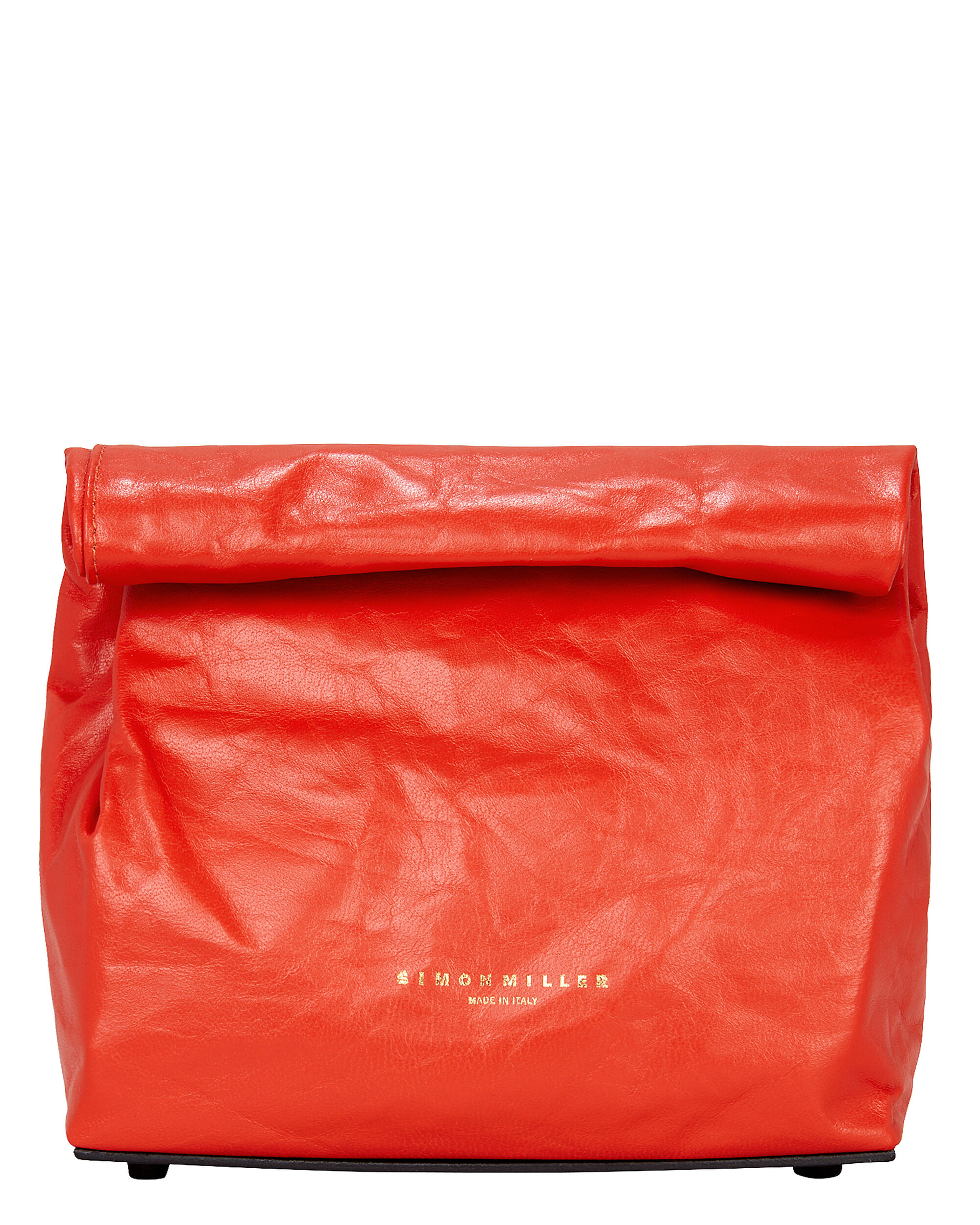 Red Leather Lunch Bag, RED, hi-res
