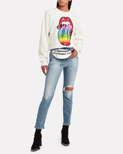 Cropped Rolling Stones Graphic Sweatshirt, IVORY, hi-res