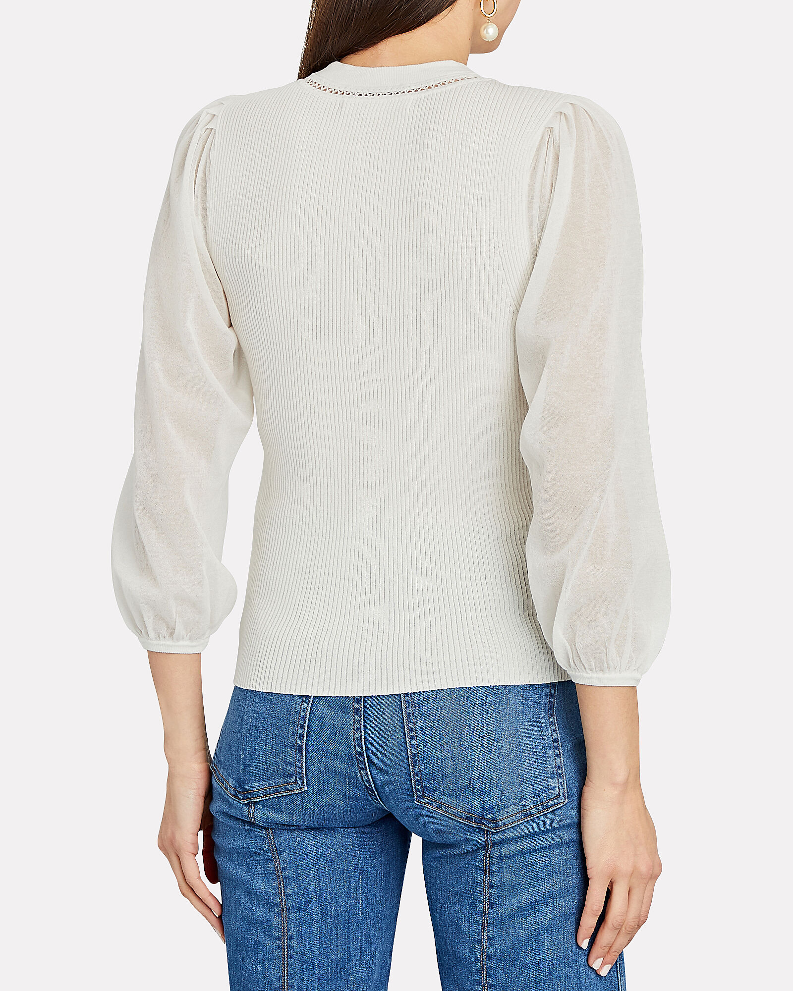 Veronica Puff Sleeve Cotton Sweater, WHITE, hi-res