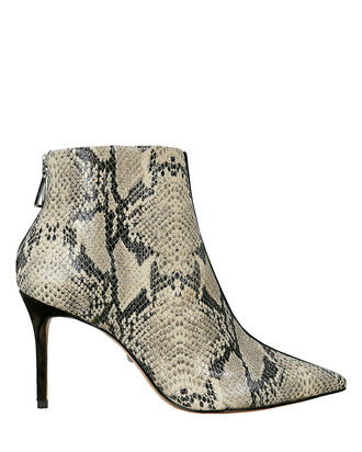 Avory Colorblocked Python Booties, BLACK/PYTHON, hi-res