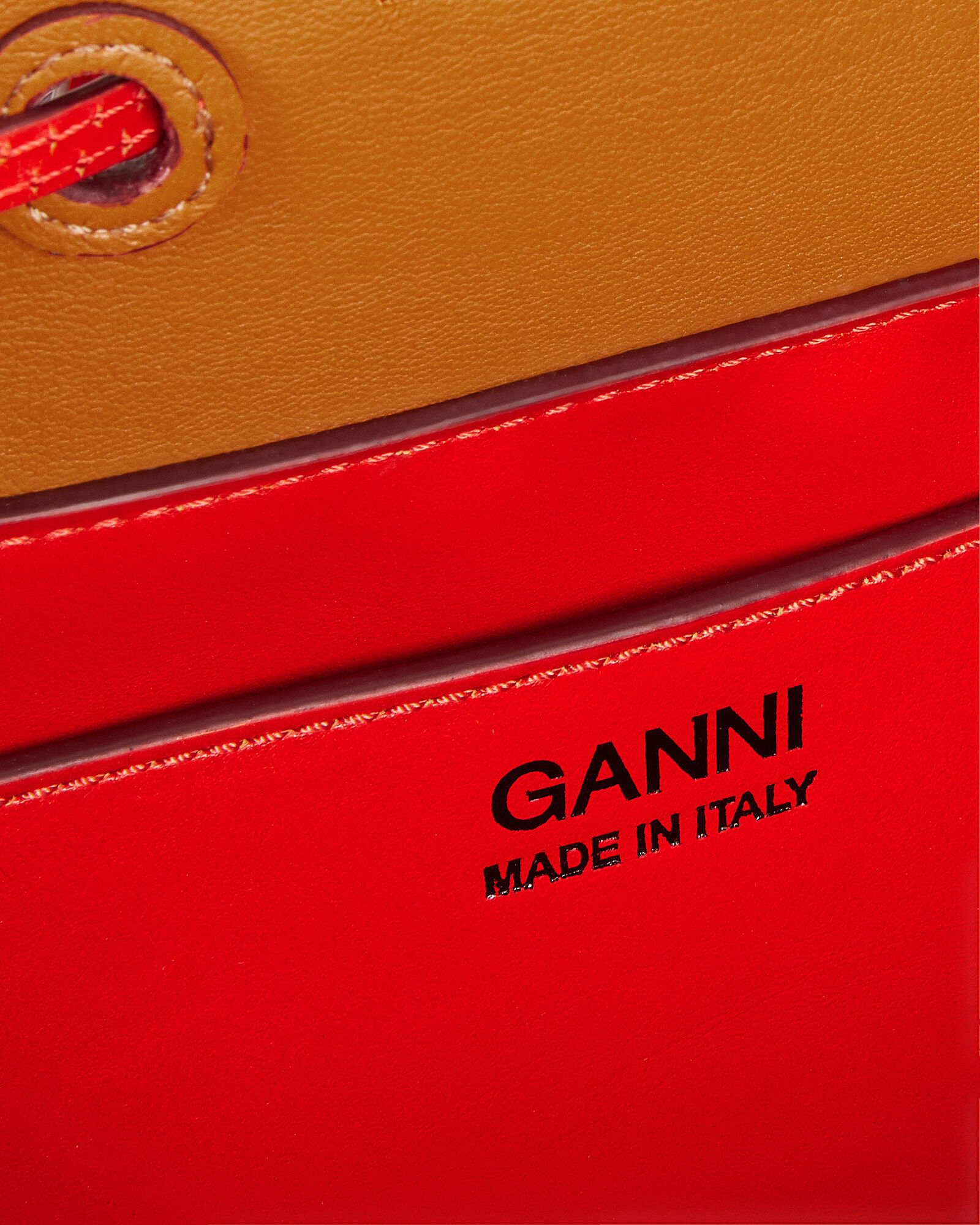 Red Leather Bucket Clutch, RED LEATHER, hi-res