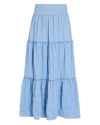 Patrice Tiered Midi Skirt, BLUE-LT, hi-res
