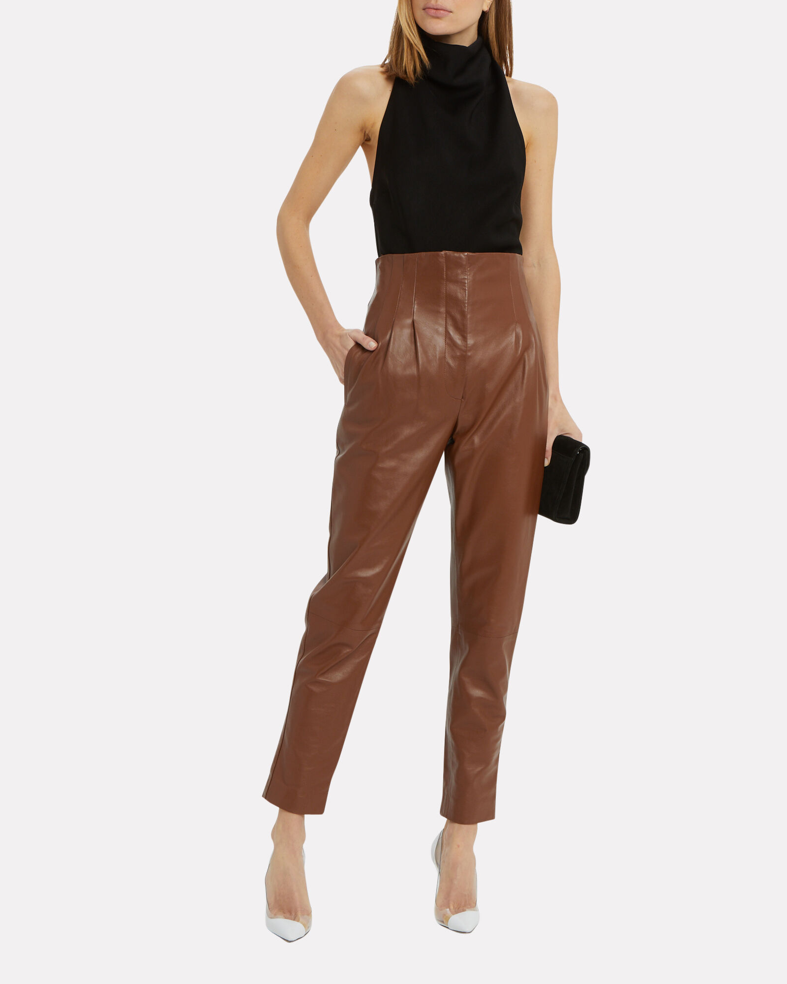 High Waist Leather Tapered Pants, BROWN/LEATHER, hi-res