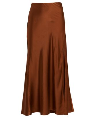 Tamiko Silk Midi Slip Skirt, BROWN, hi-res