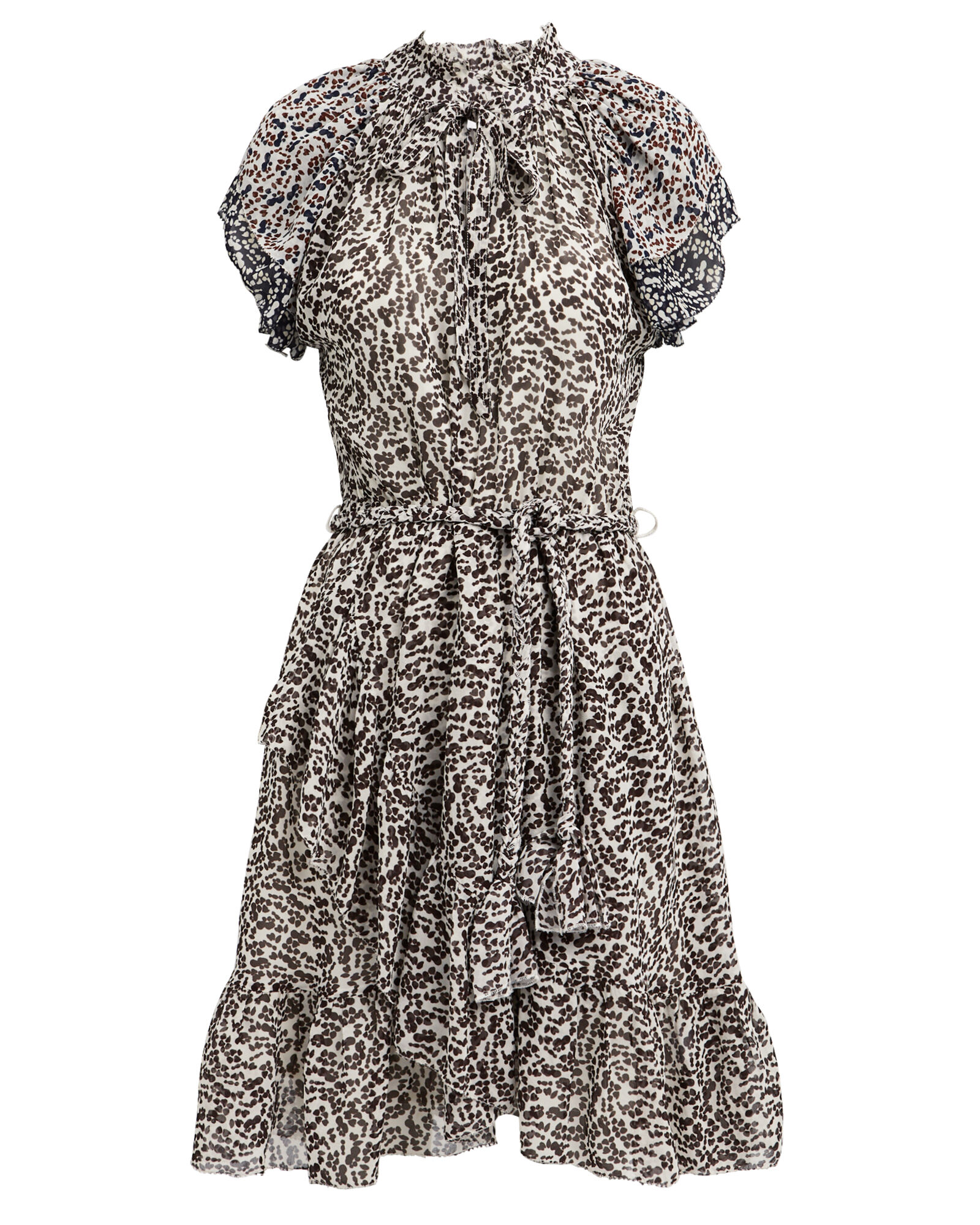 Sabina Silk Georgette Printed Dress, BLK/WHT, hi-res