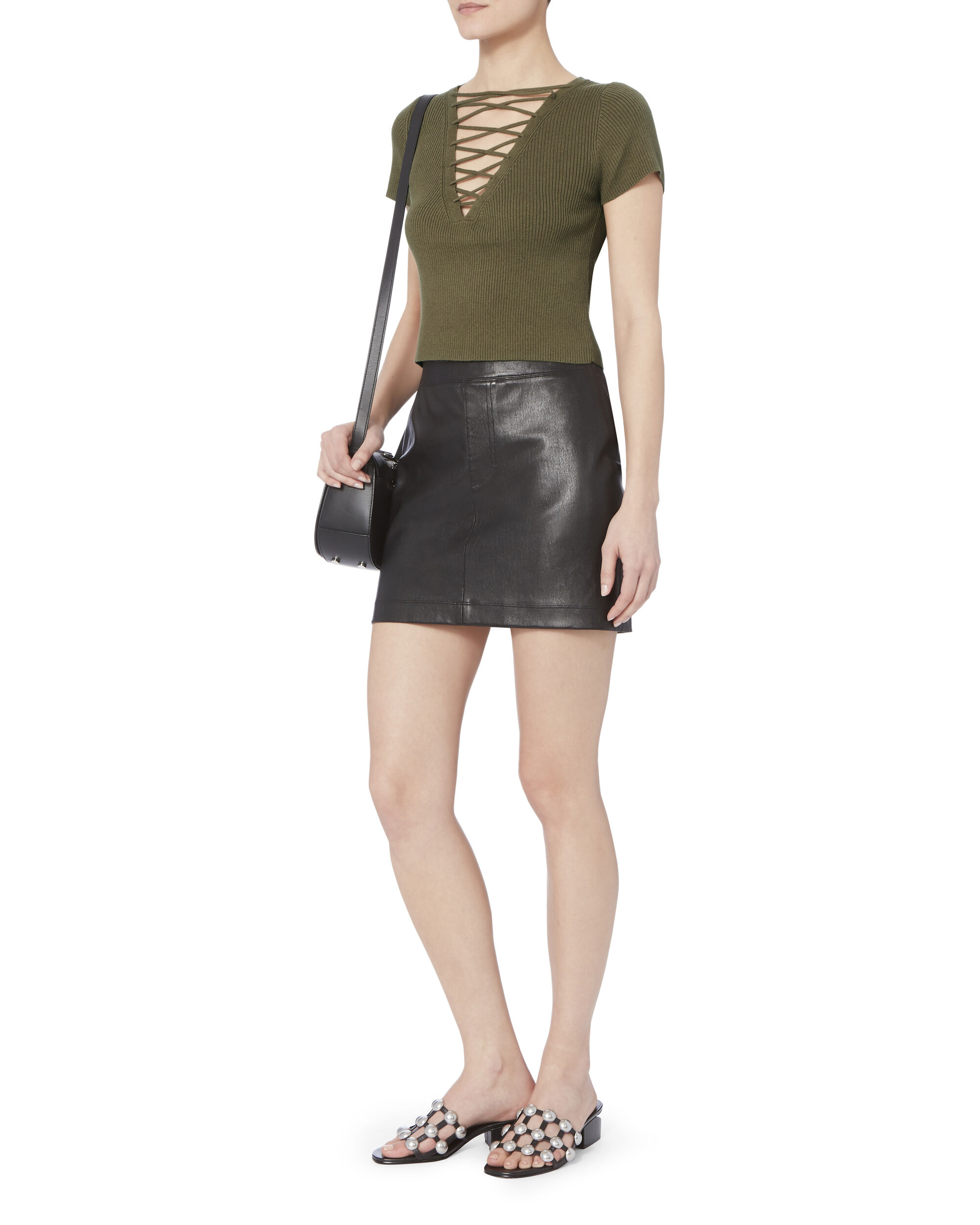 Olive Lace-Up Short Sleeve Sweater, GREEN, hi-res