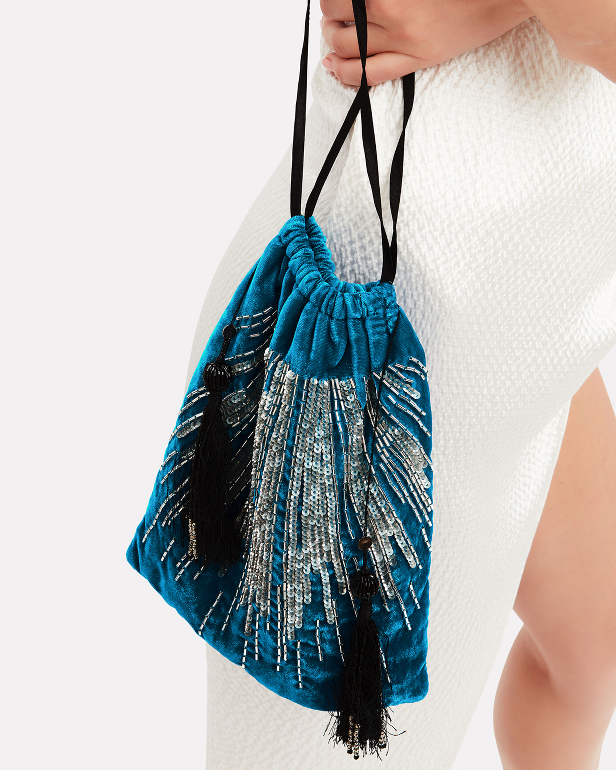 Embroidered Velvet Blue Pouch Clutch, BLUE, hi-res