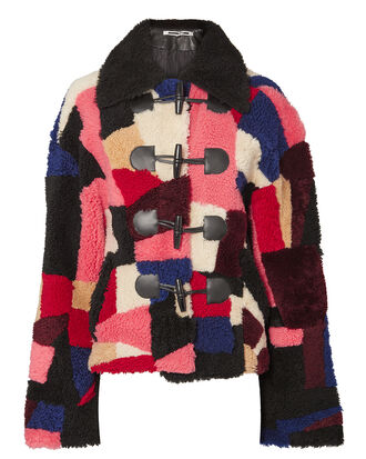Multi Patchwork Shearling Jacket, MULTI, hi-res