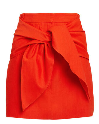 Linen Blend Tie Front Mini Skirt, RED, hi-res