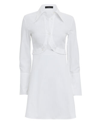 Poplin Cutout Detail Shirtdress, WHITE, hi-res