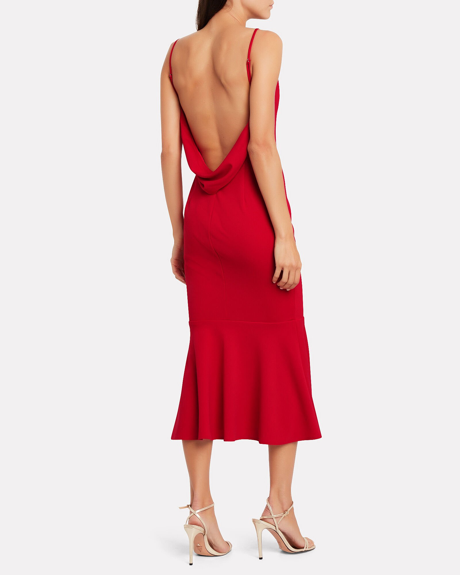 Twirl Crepe Open Back Dress, RED, hi-res