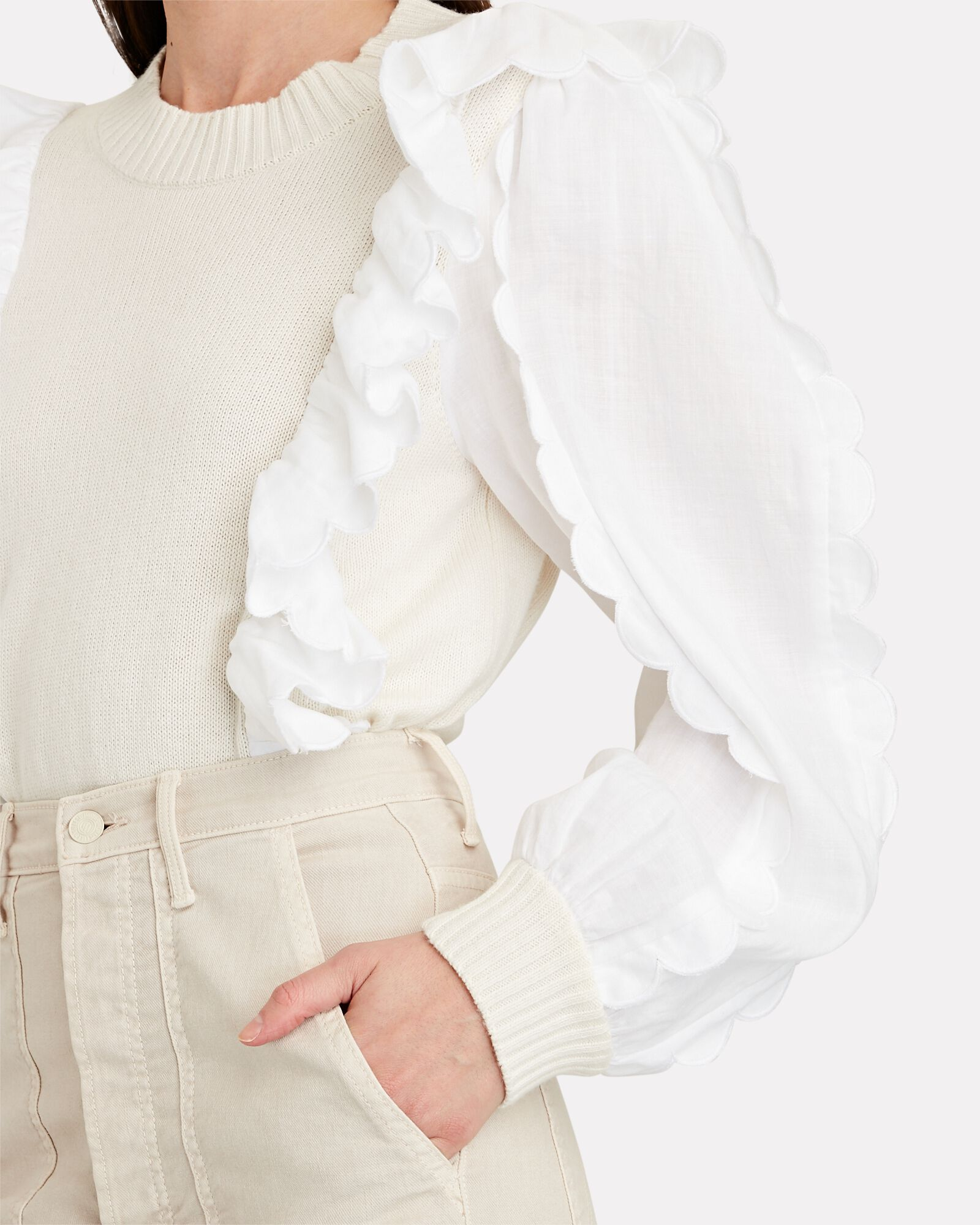 Shannon Ruffled Poplin-Trimmed Sweater, WHITE, hi-res