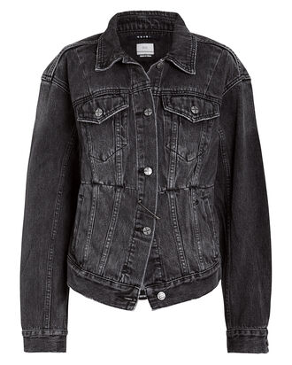 Sideline Safety Pin Denim Jacket, BLACK WASH DENIM, hi-res