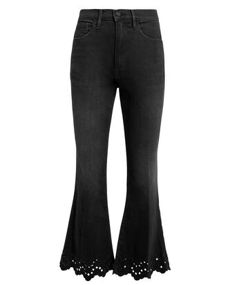 Schiffly Crop Flare Jeans, BLACK, hi-res