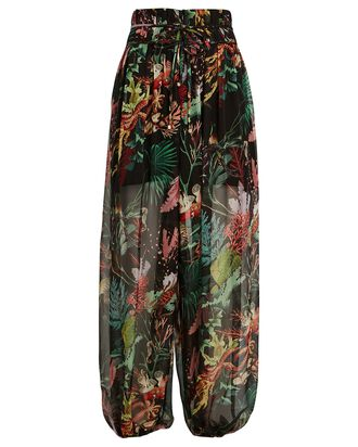 Oasis Tropical Chiffon Beach Pants, BLACK, hi-res