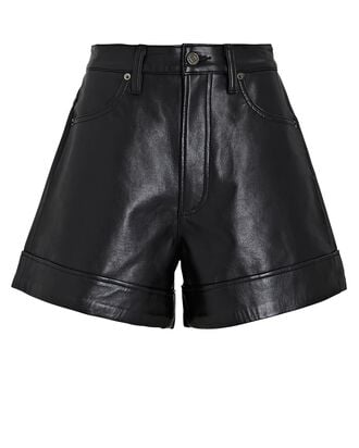 Recycled Leather Shorts, BLACK, hi-res