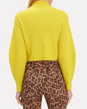 Structured Yellow Ribbed Pullover, YELLOW, hi-res