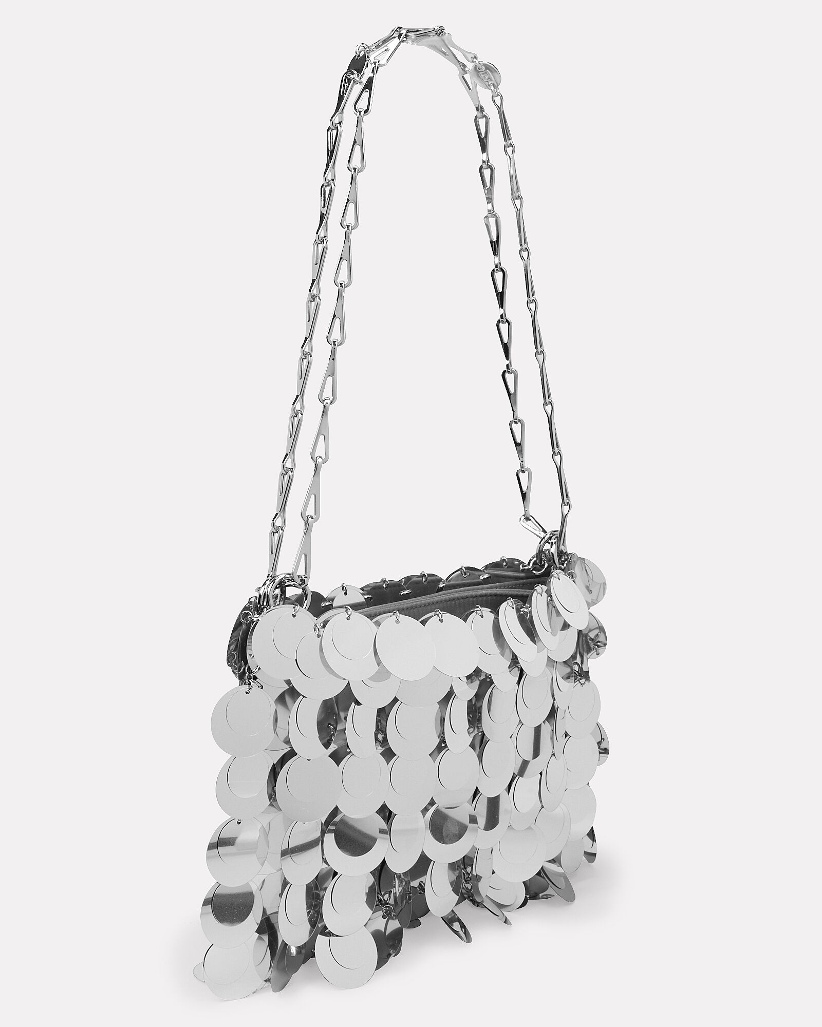 Iconic 1969 Sparkle Metal Chain Mail Bag, SILVER, hi-res