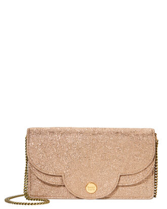 Polina Glitter Chain Wallet, GOLD, hi-res
