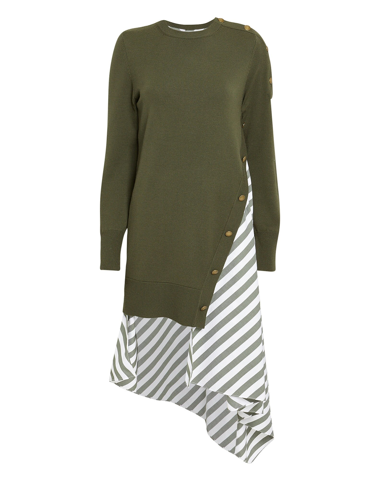 Olive Striped Poplin Contrast Knit Dress, OLIVE/ARMY, hi-res