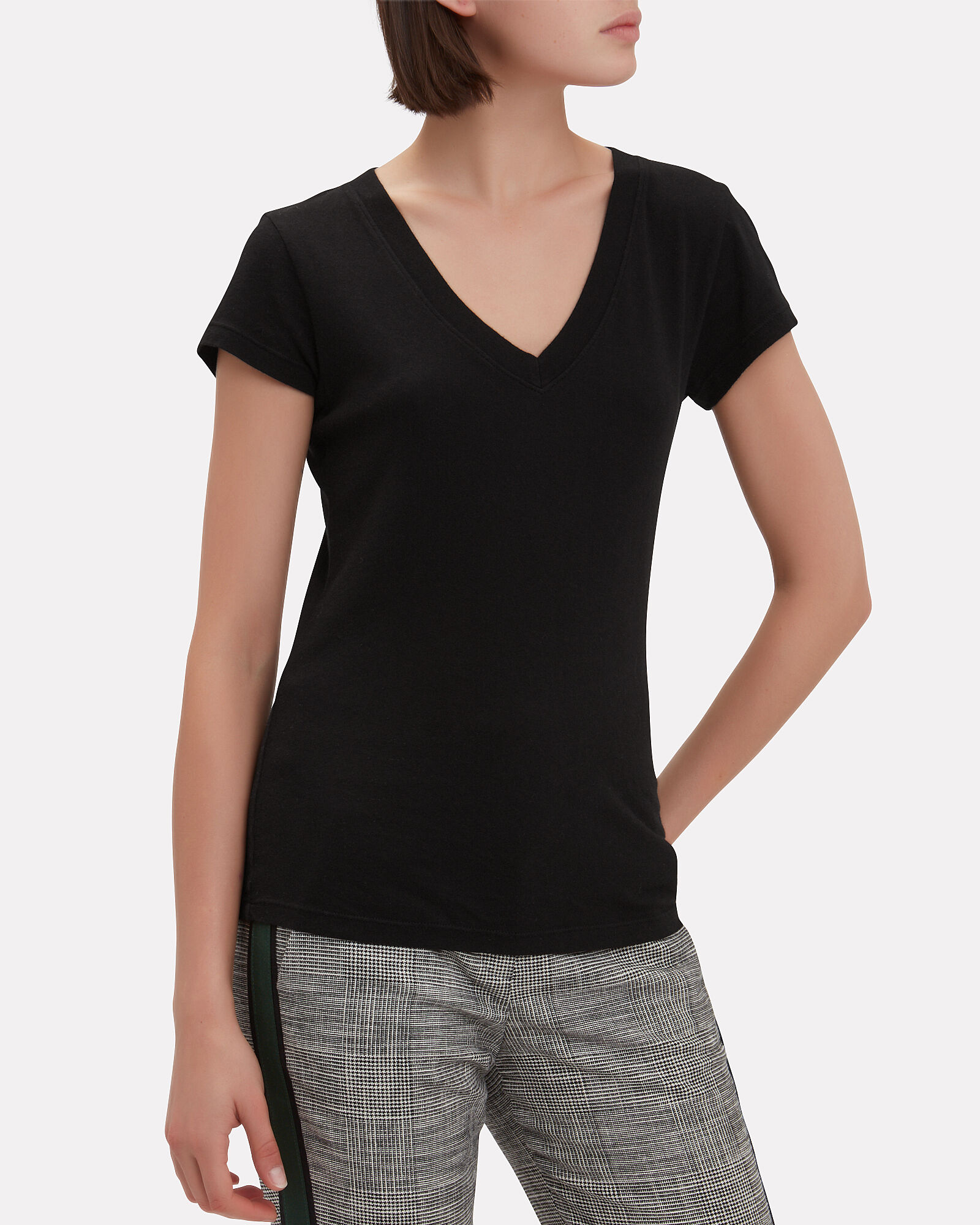Becca V-Neck Cotton T-Shirt, BLACK, hi-res