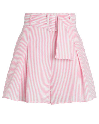 Everywhere You Go Belted Shorts, PINK/WHITE, hi-res