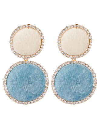 Origine Pastel Crystal Circle Earrings, IVORY/TURQUOISE, hi-res