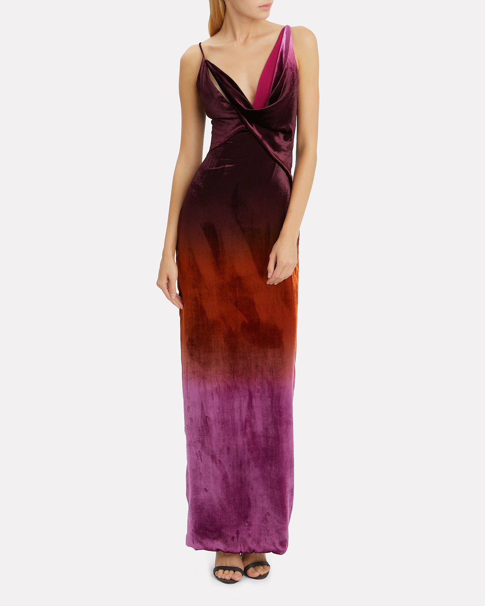Ombré Velvet Column Gown, RED-DRK, hi-res