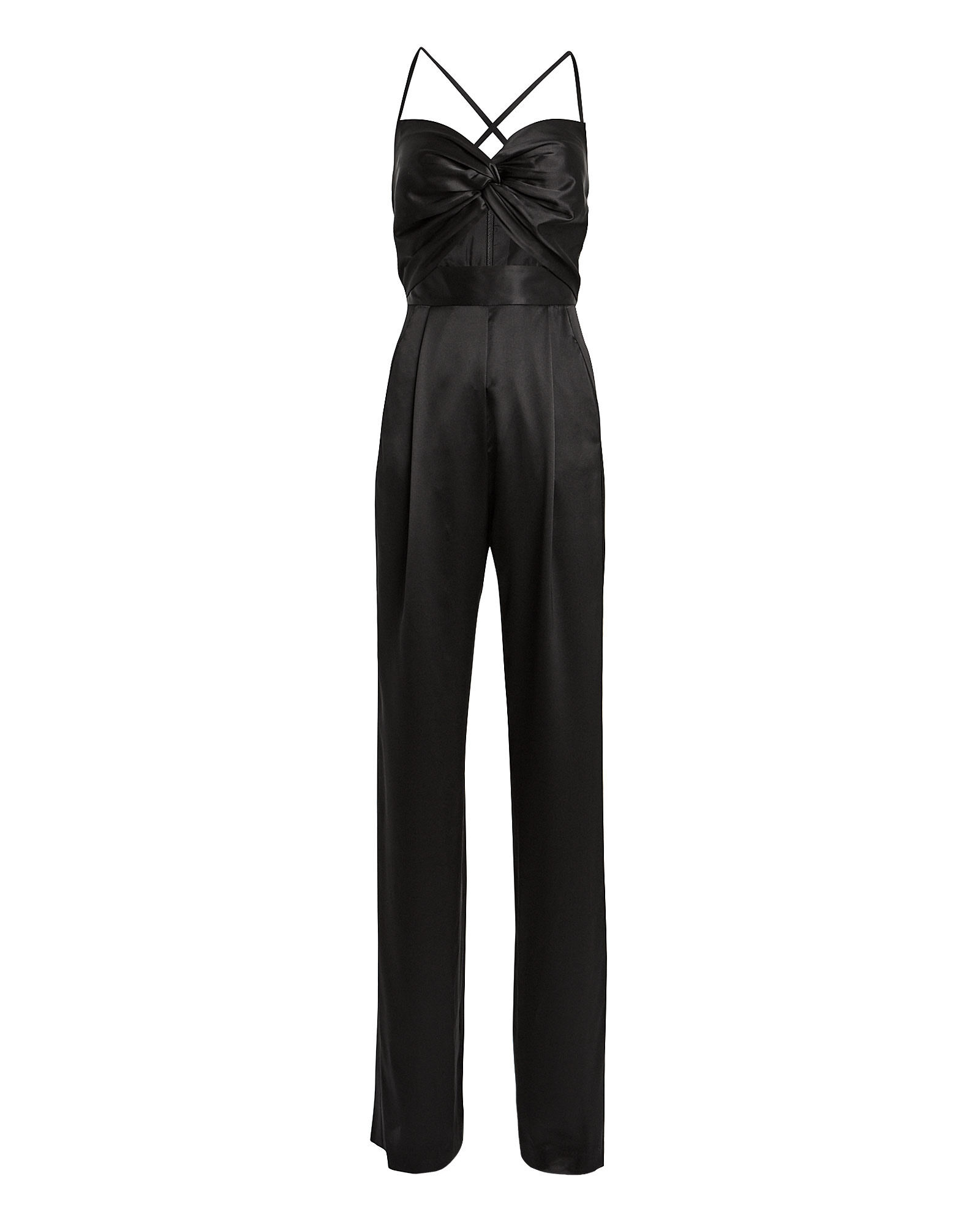 Twisted Silk Charmeuse Jumpsuit, BLACK, hi-res
