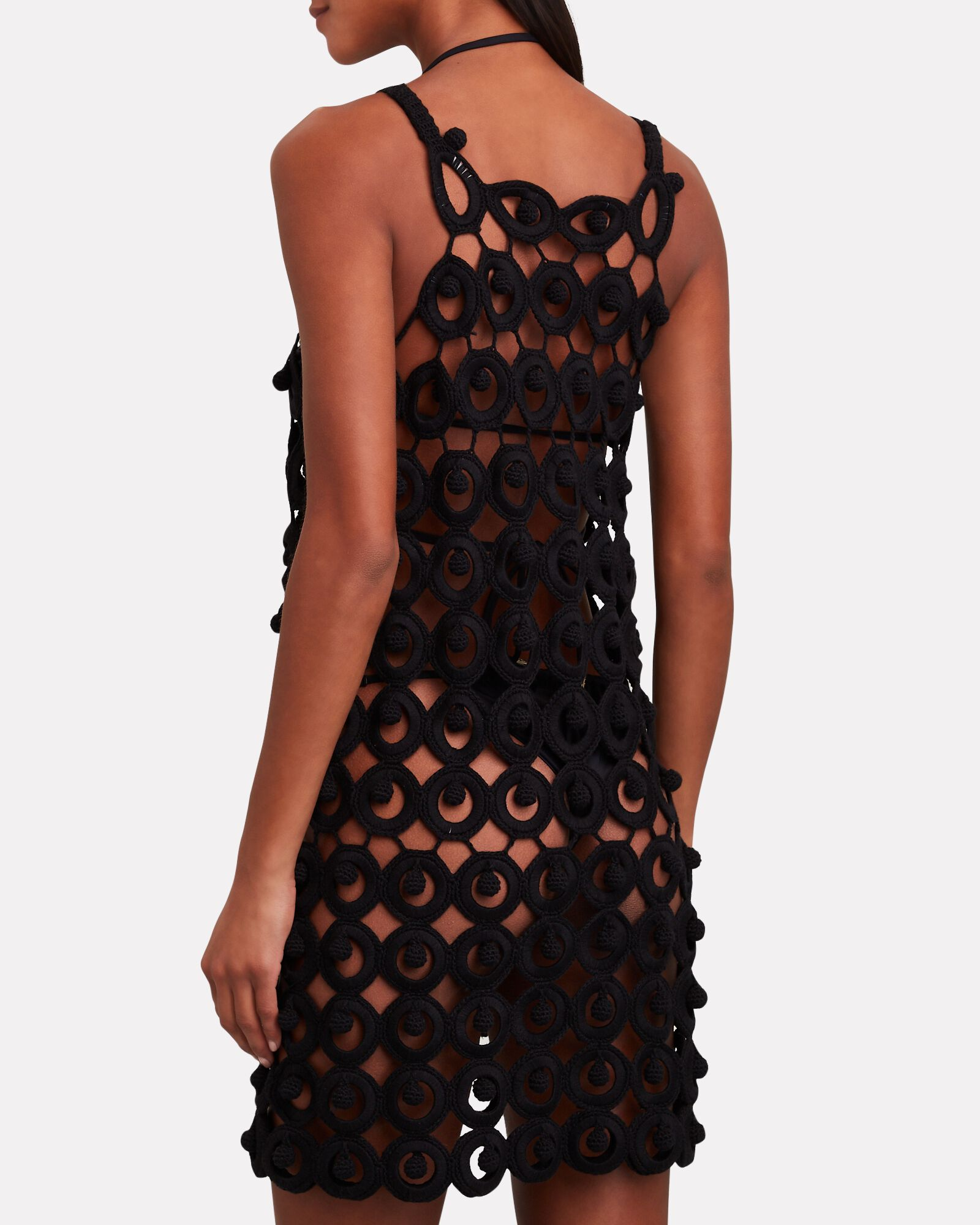 Yara Crochet Knit Mini Dress, BLACK, hi-res