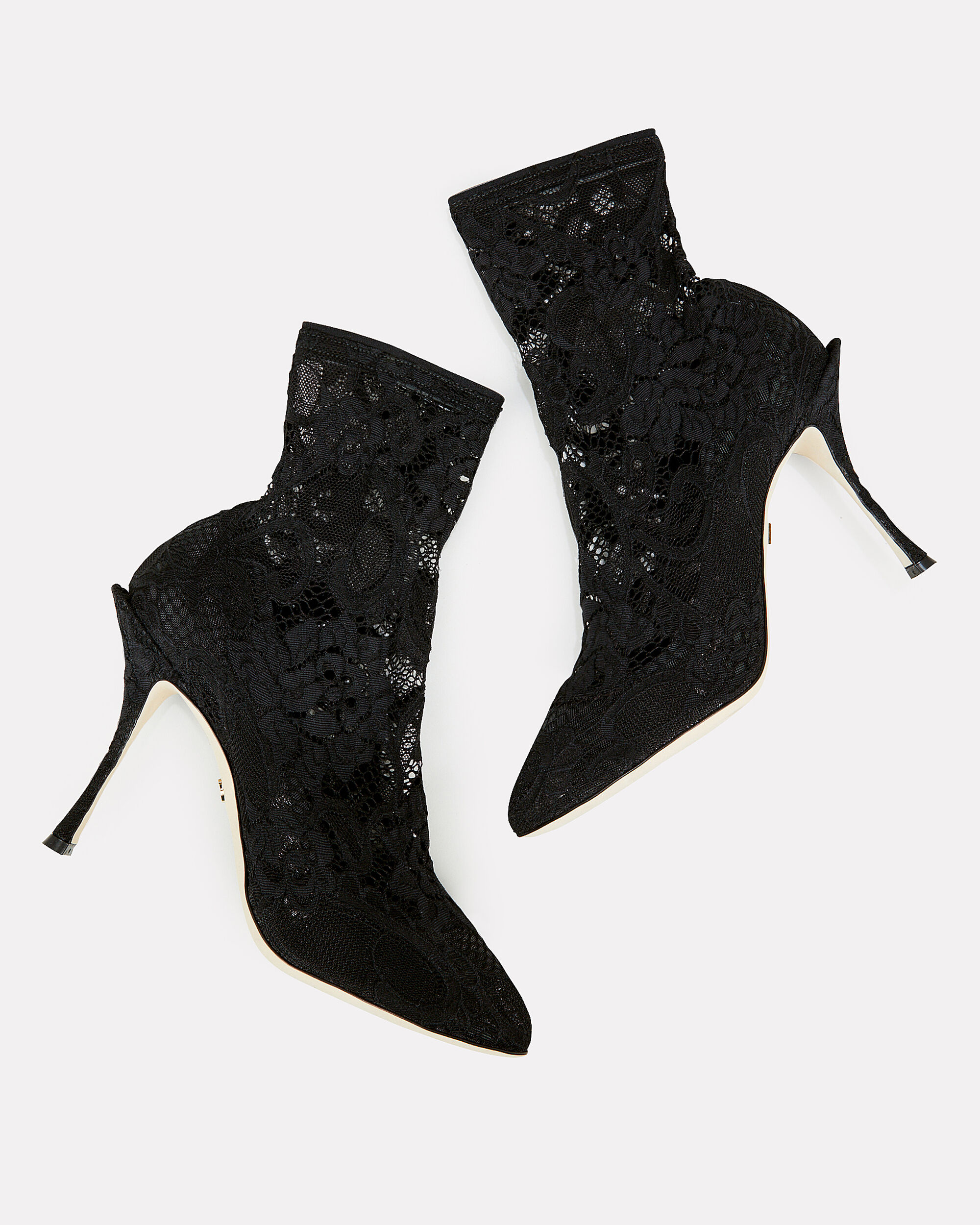 Lace Stretch Booties, BLACK, hi-res