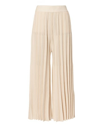 Beige Cropped Pleated Pants, BEIGE, hi-res