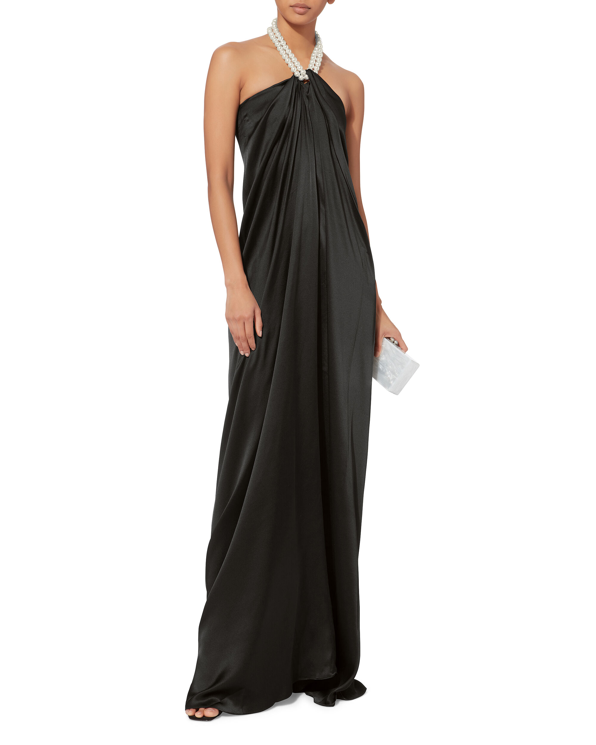 Pearl Halter Sarong Dress, BLACK, hi-res